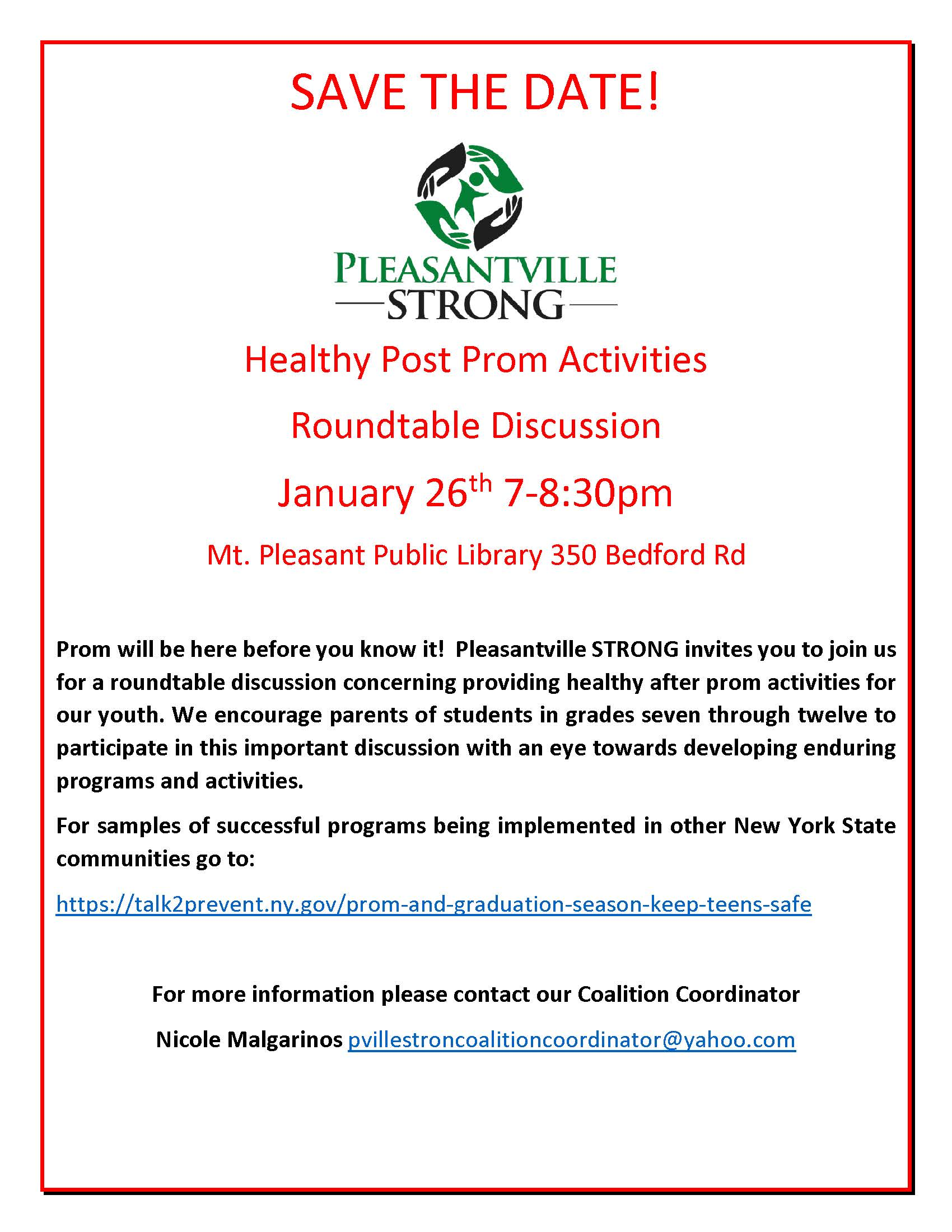 Pleasantville strong we encourage parents of students in grades seven through twelve to participate in this important discussion with an eye towards developing enduring programs stopboris Choice Image